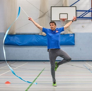 Lord Coe is doing rhythmic gymnastics for Sport Relief