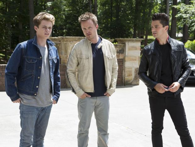 HARRISON Gilbertson as Little Pete, Aaron Paul as Tobey Marshall and Dominic Cooper as Dino Brewster.