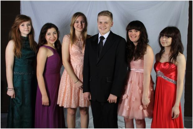 Pictured in some of the donated outfits are Freya Wolfe-Middleton, Severine Heyward, Shawna Whitehouse, Callum Salway, Mollie Kempton and Katie Lawson, all from Year 11. Photo: submitted.