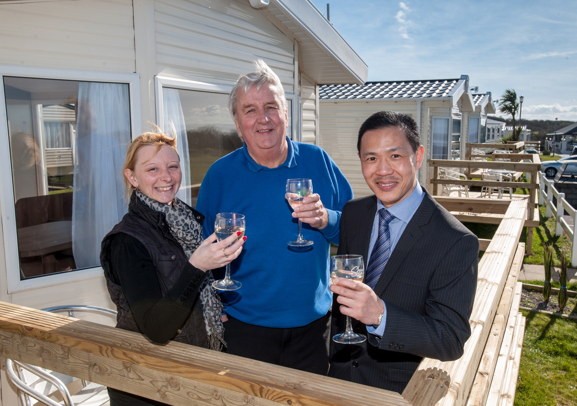 Rachael Hendy and Clive James of Beachside Holiday Park with NatWest's Keem Lau. Photo: submitted.