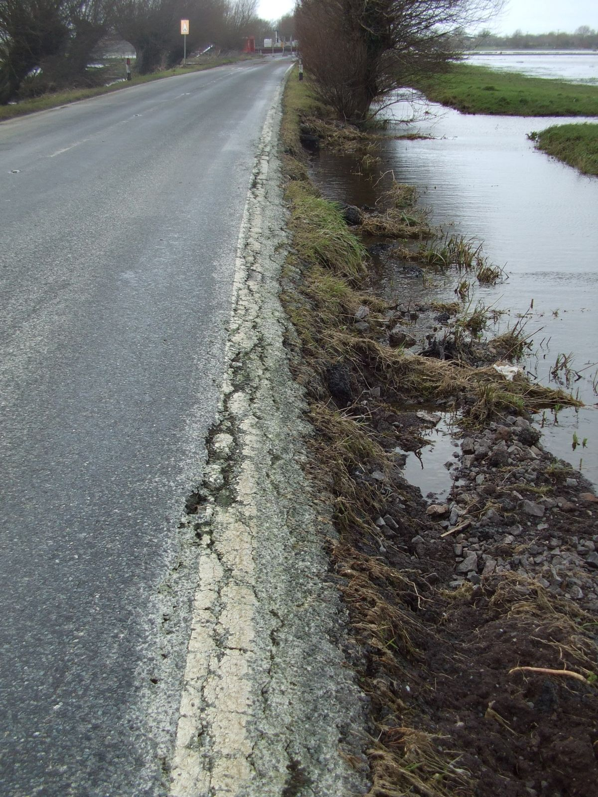 The extent of damage caused to the edge of the A372 by recent floods