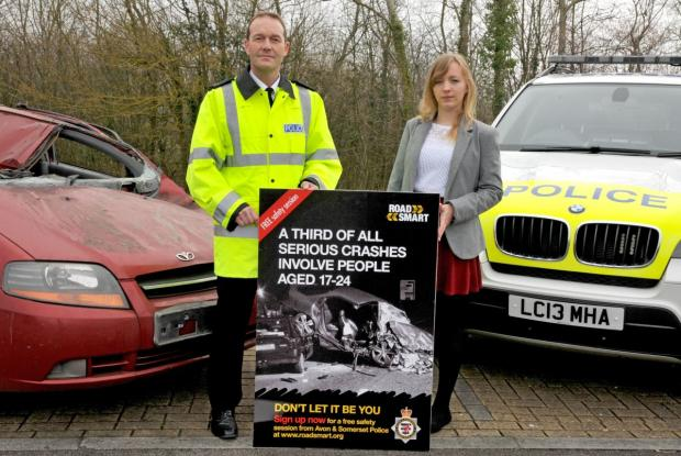 Supt Ian Smith with Rowan Webber, one of the volunteers who took part in the Road Smart pilot session.