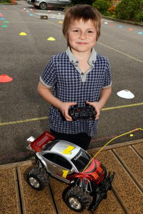 Ethan, eight, was the one to beat at the remote control car tournament
