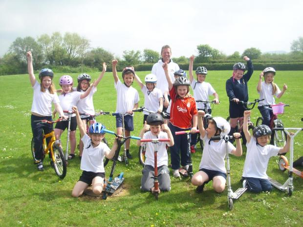 The kids at Berrow School on their scooters