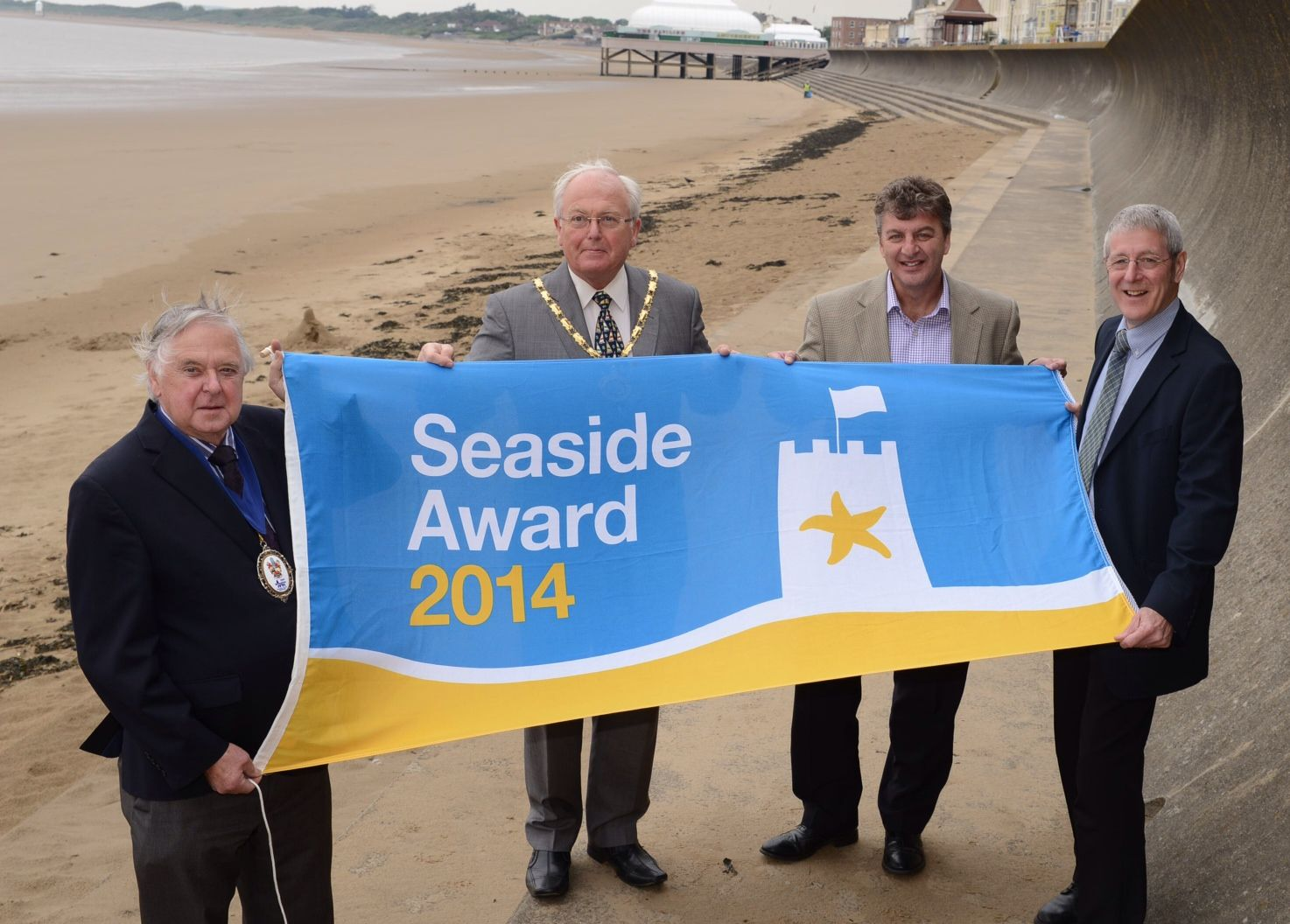Burnham Deputy Mayor Dennis Davey, chairman of Sedgemoor District Council Peter Downing, and dean Nuralli and Phil Perkins from Sedgemoor District Council