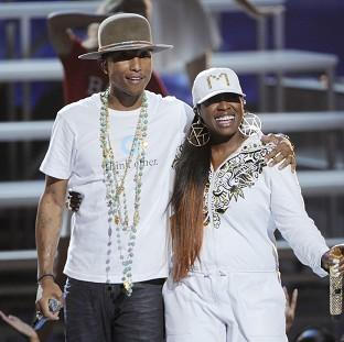Pharrell Williams performed with Missy Elliott at the BET Awards at the Nokia Theatre in Los Angeles (AP/Invision)