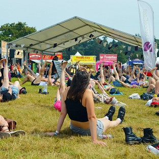 Sun cream was handed out to Latitude crowds on Friday
