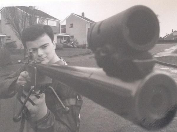 DAVID Luckman as a 17-year-old schoolboy with his rifle.