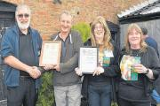PHIL Edmond, chair of Somerset branch of CAMRA, John Harris, Andrea Briars, chair of national cider and perry committee and Sarah ALL those present on Saturday's visit. Newson, vice-chair of the national cider and perry committee.