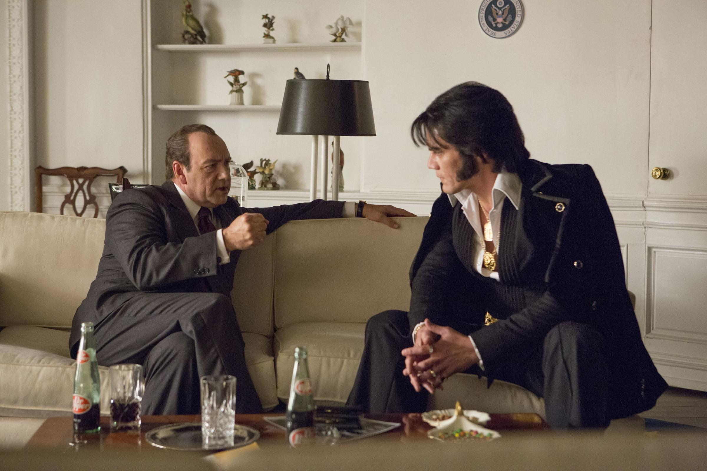 ALL SHOOK UP: Kevin Spacey as Richard Nixon and Michael Shannon stars as Elvis.