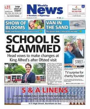 Burnham and Highbridge Weekly News: SCHOOL IS SLAMMED: