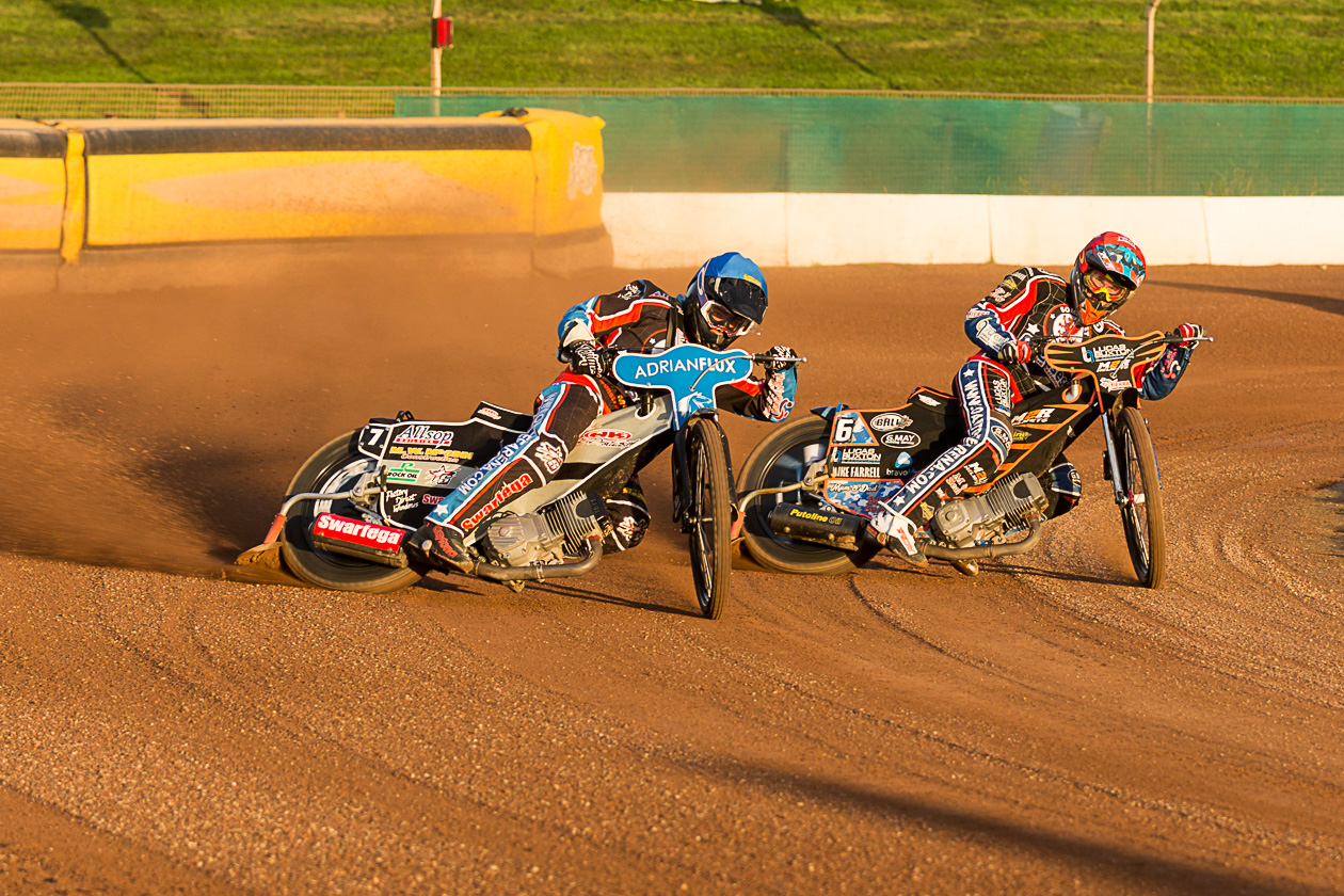 RACING AWAY: The Somerset Rebels duo of Lewis Kerr and Jake Allen on their way to a 5-1 maximum in heat 2. Pic: Colin Burnett