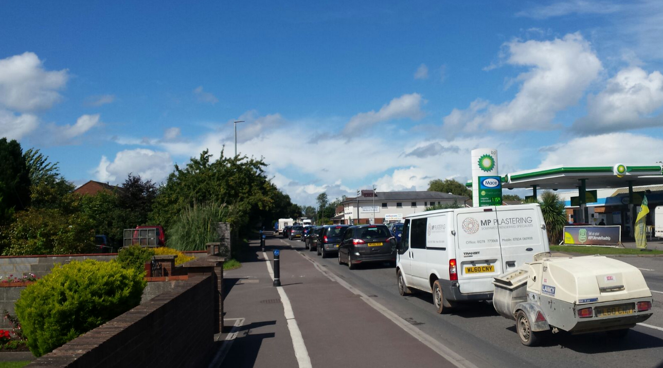 Traffic congestion on Taunton Road heading into Bridgwater