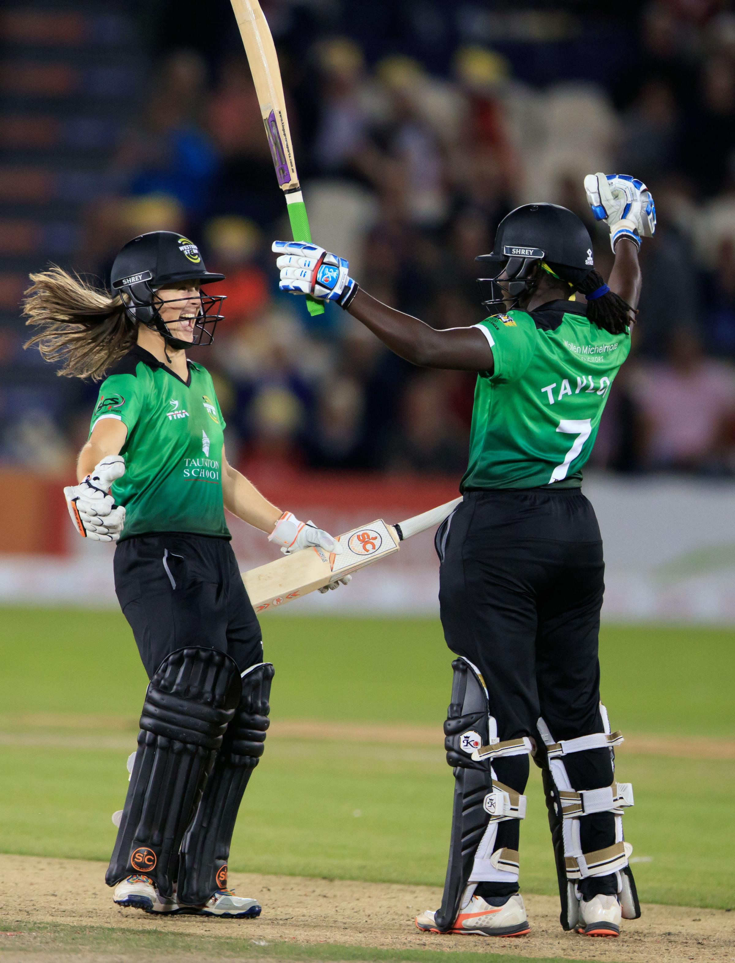 JOY: Sophie Luff (left) celebrates winning the Kia Super League with Western Storm in 2017. Pic: PA