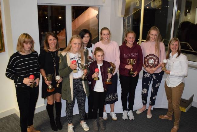 PRIZES: Award recipients at the Somerset Women's and Girls' Presentation Night at the Cooper Associates County Ground, including Sophie Luff (pictured far right).