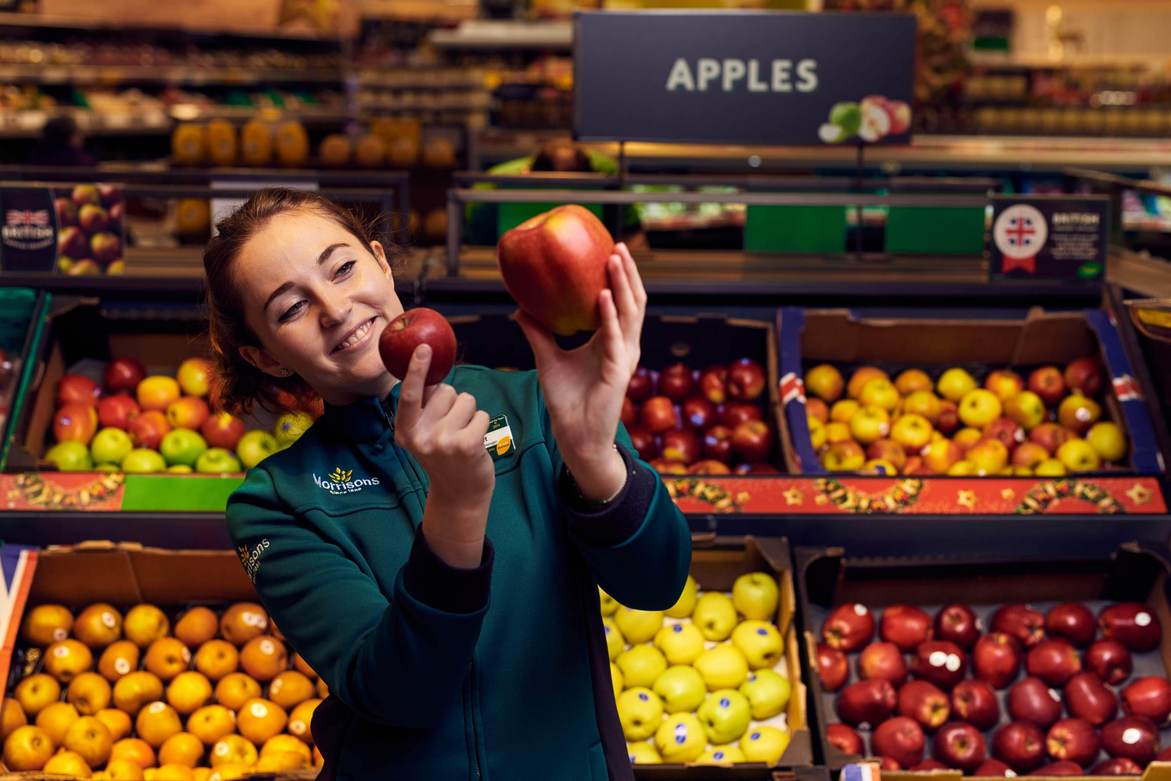 Morrisons is selling supersized Braeburn apples after unusual weather conditions in spring produced a crop of giants.