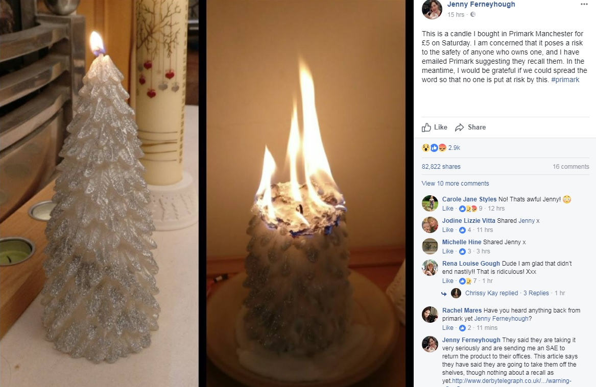 CONCERN: Jenny Ferneyhough's post featuring the Primark candle