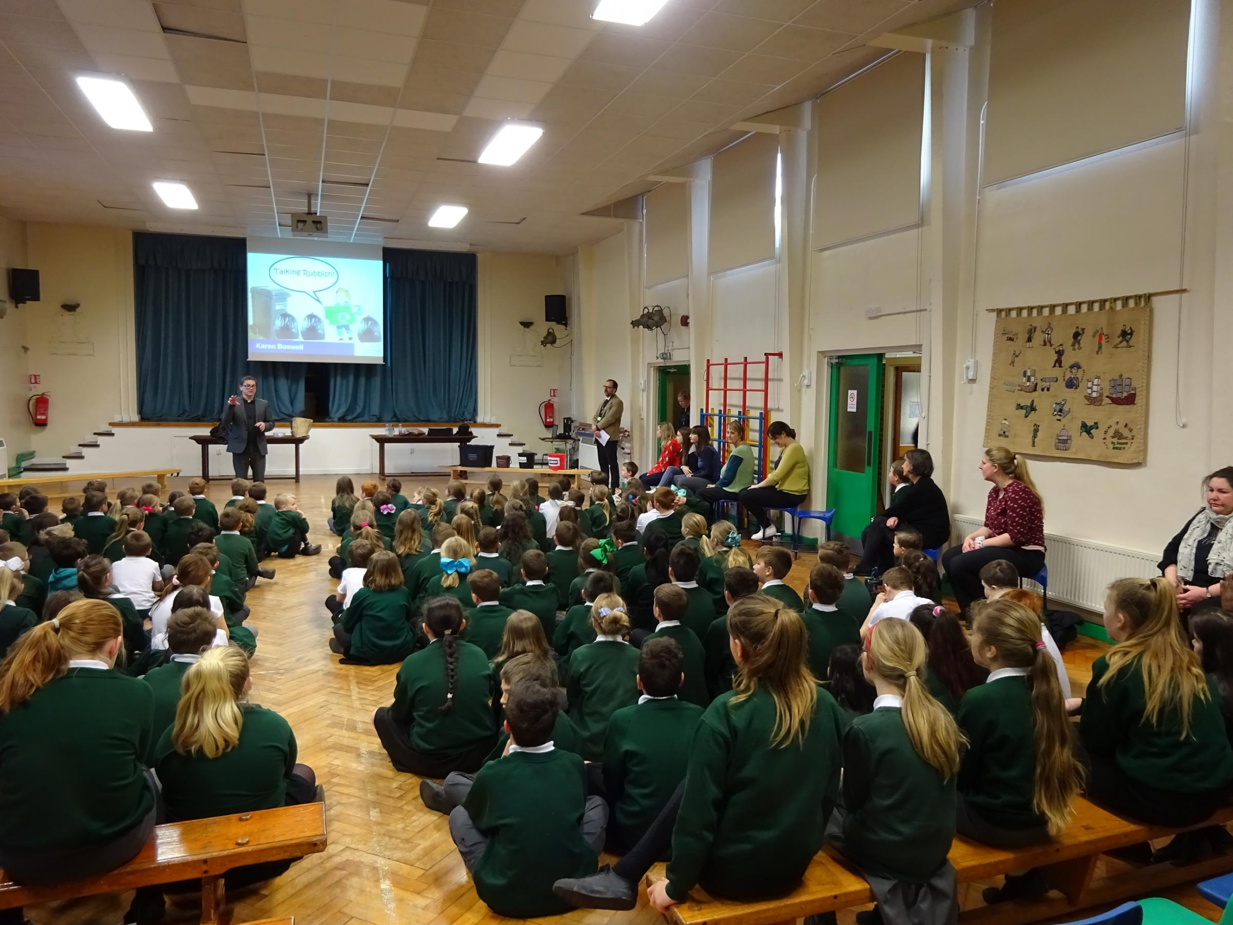 LEARNING: Wellsprings Primary School listening to the assemblies