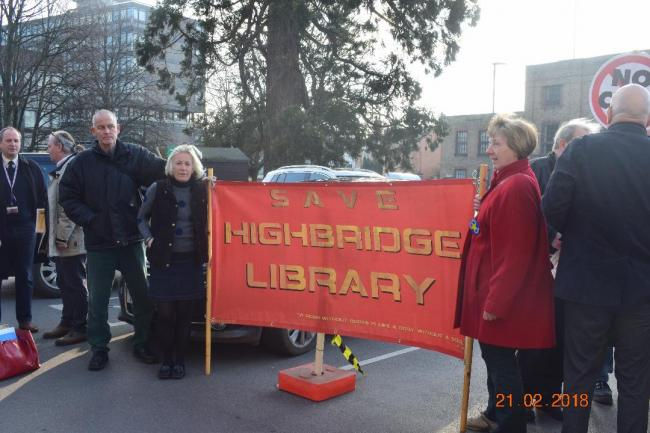 CAMPAIGNING: Members of the Save Highrbidge Library campaign group protesting outside Shire Hall in Taunton