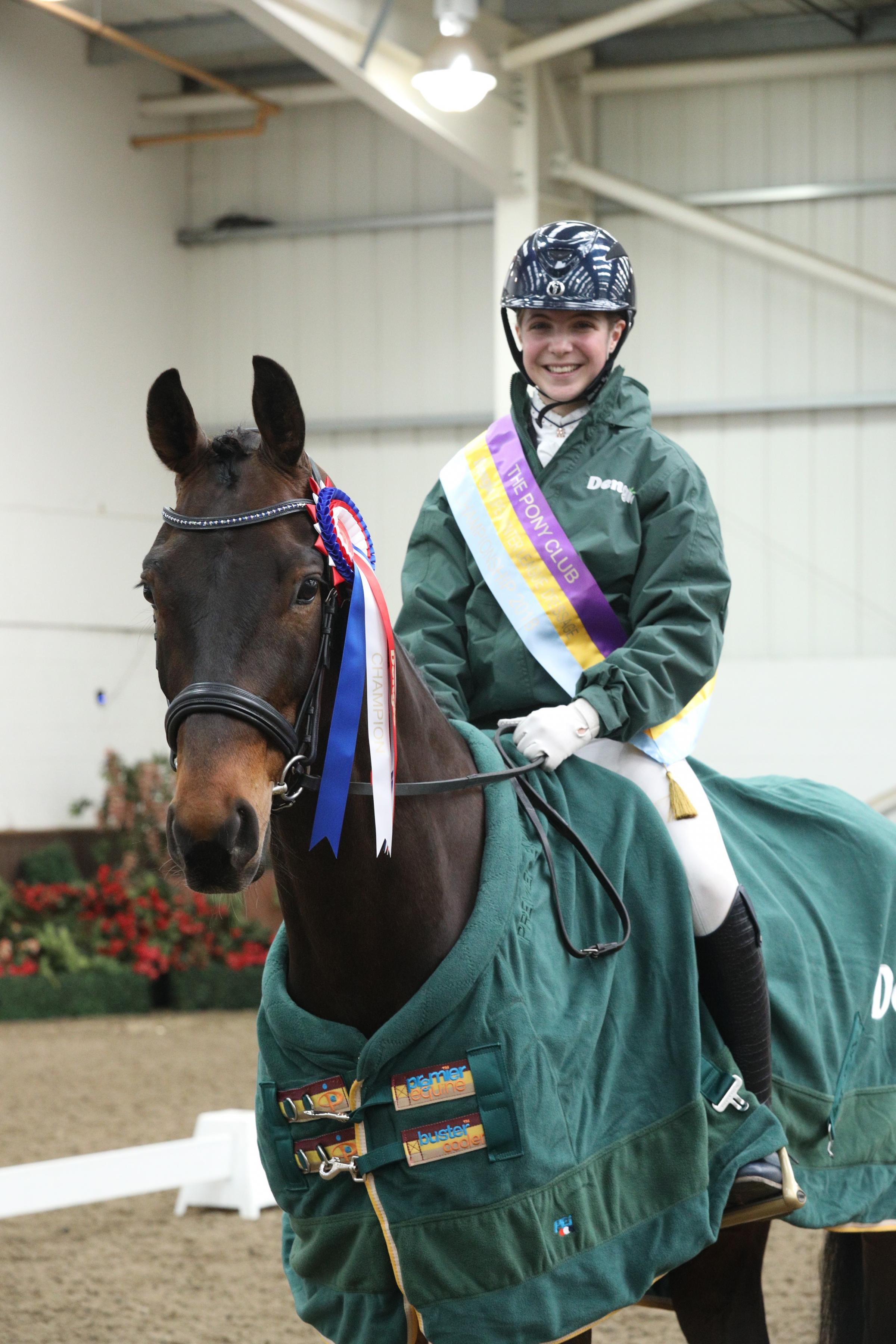 WINNER: Florence Human at the Pony Club Winter Dressage Championship at Addington Manor in Milton Keynes