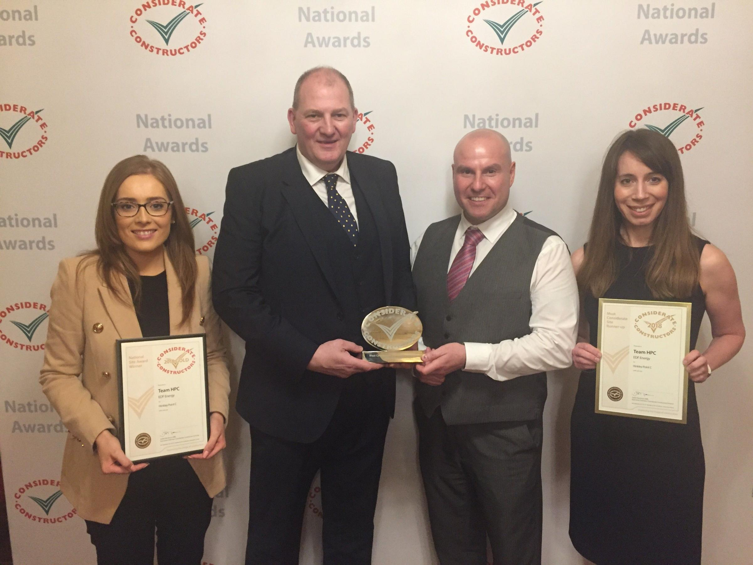 AWARD: Colleen Catterson (Bylor), Iain Graham, Lee Jones (both EDF Energy), and Emma Keen (Kier Bam) pictured with the award