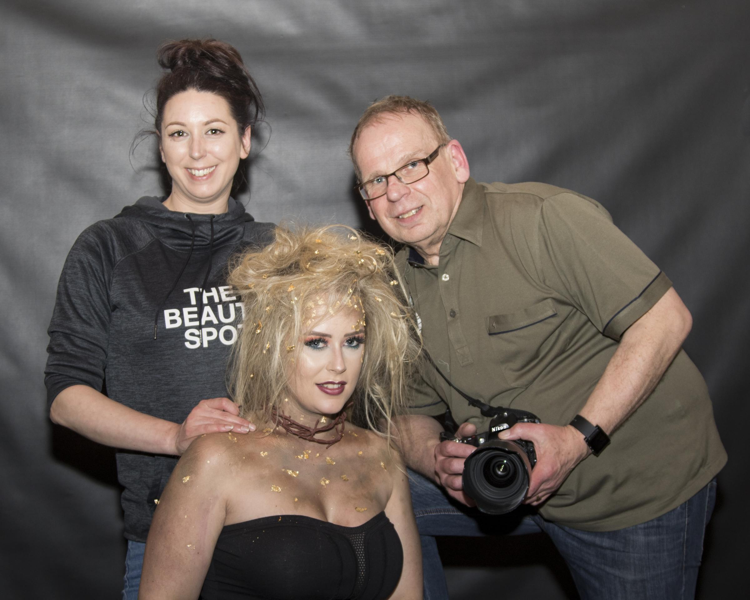 MASTERCLASS: Burnham-on-Sea photographer, Nick Tolley with beautician, Hannah Shapter from The Beauty Spot and model Leona Walsh.
