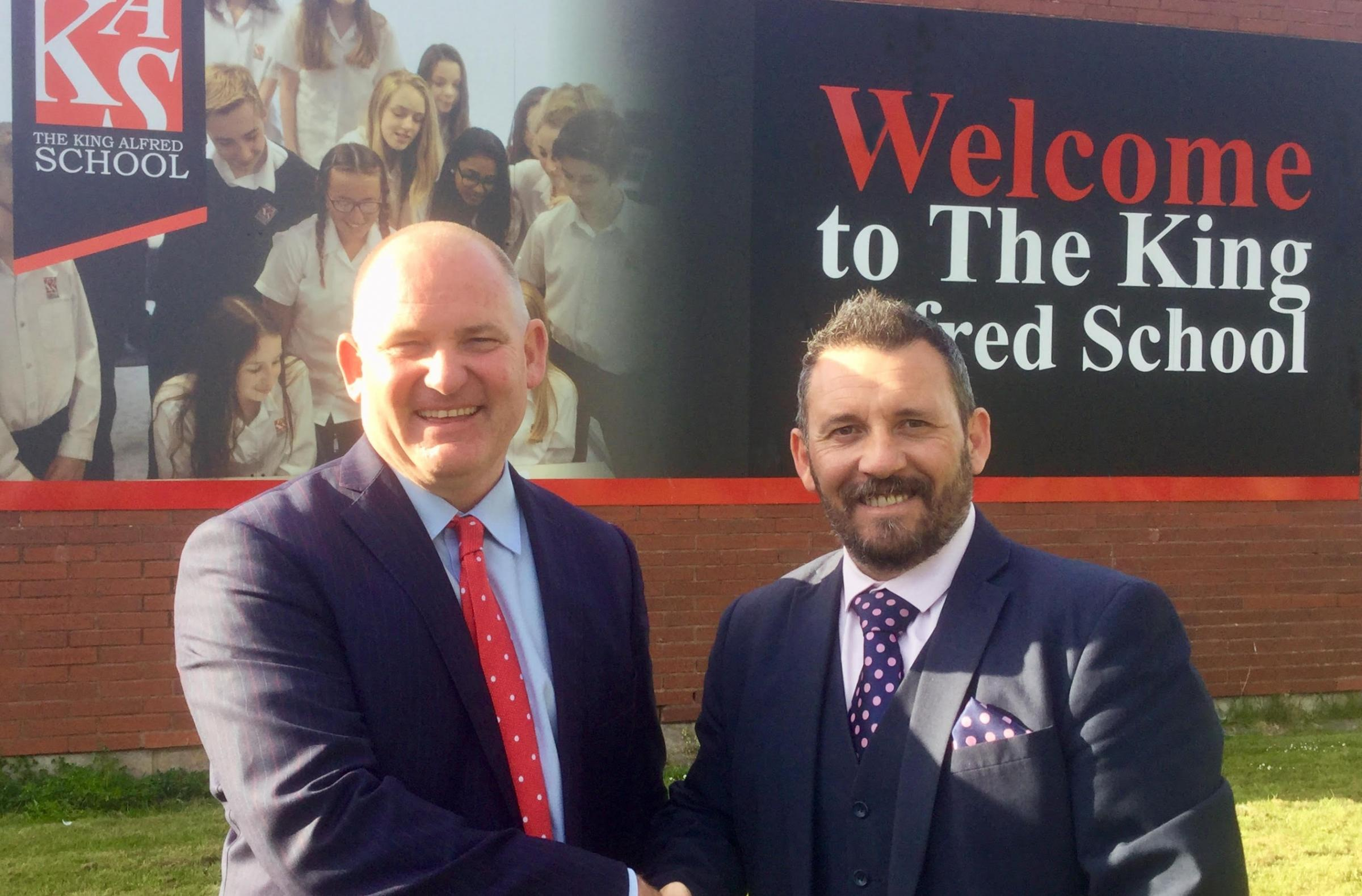 NEW APPOINTMENT: Neville Coles, executive principal of The Priory Learning Trust with The King Alfred School's new principal, Nathan Jenkins
