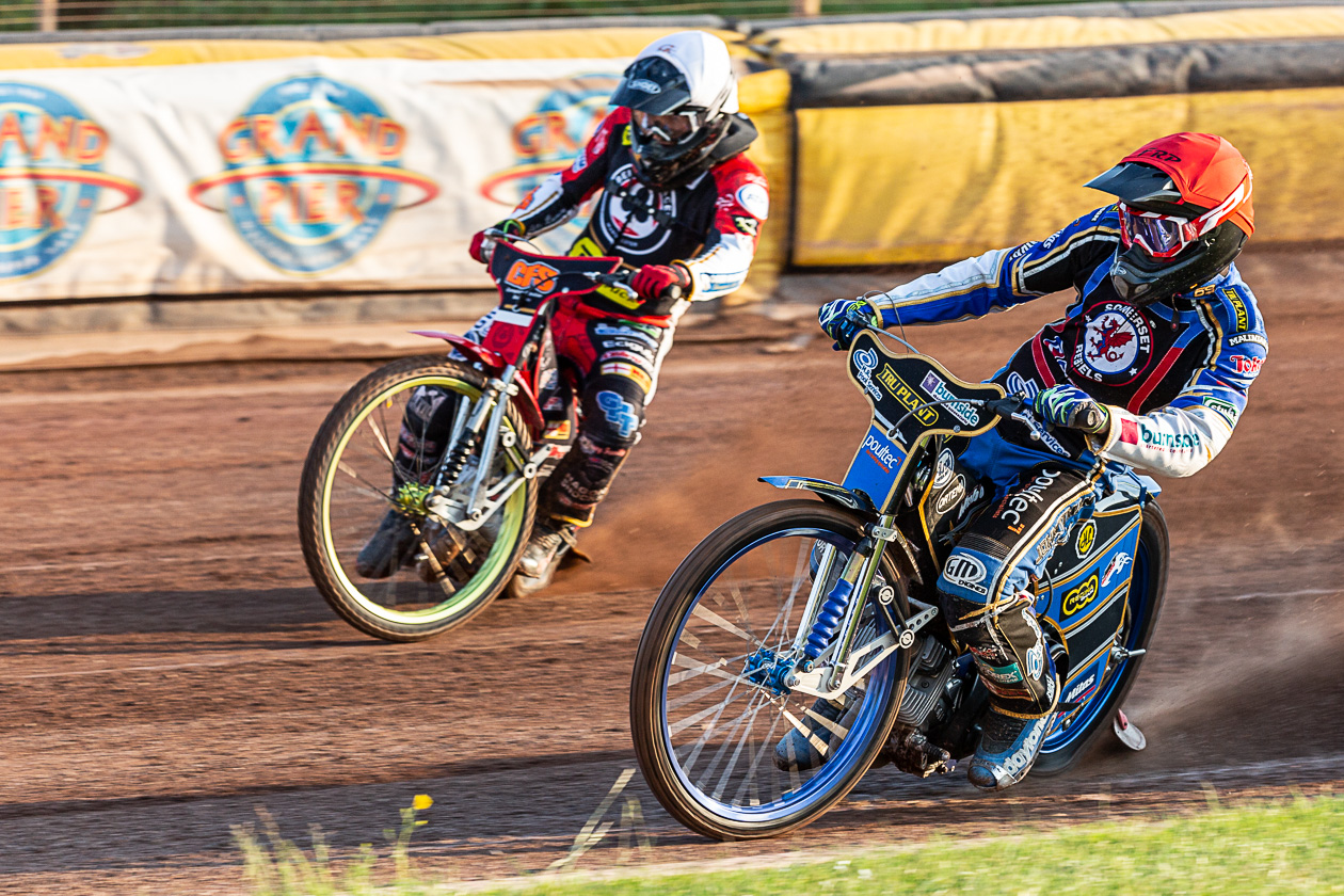 TOP FORM: Jason Doyle (R) in action against Belle Vue. Pic: Colin Burnett