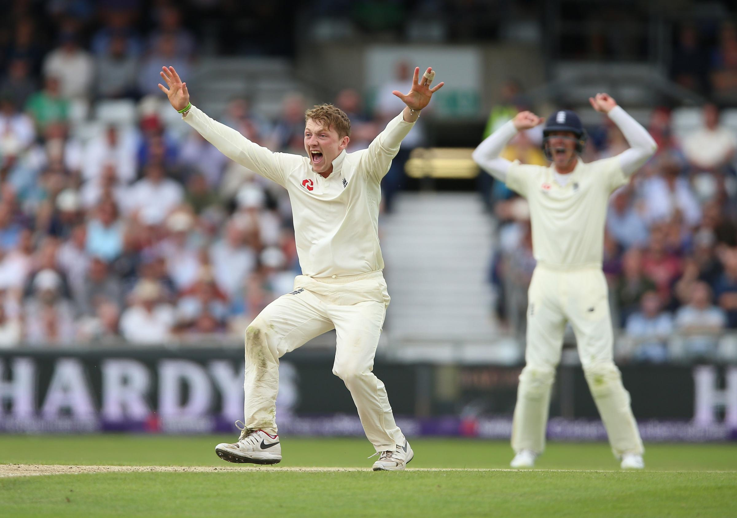 England's Dom Bess celebrates after taking the wicket of Pakistan's Imam ul-Haq during day three of the Second NatWest Test match at Headingley, Leeds. PRESS ASSOCIATION Photo. Picture date: Sunday June 3, 2018. See PA story CRICKET England. Photo