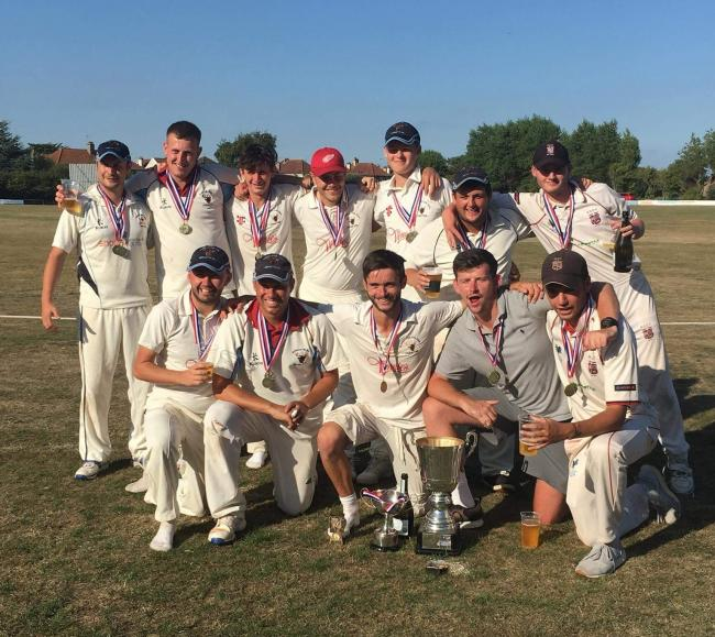 TRIUMPH: Burnham's victorious T20 side (from left): back row - Jack Morgan, Lee Coles, Fred Berry, Dave Worthington, Conor Lefrere, Tom McCollum, Sam Emberton; front - Ben Adams, Peter Harris, Craig Scriven, Brad House, Ollie Laker.