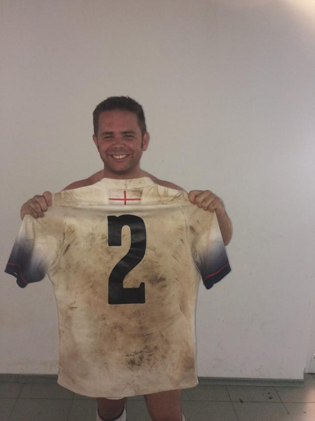 PROUD: Nick McKen with his England Deaf jersey