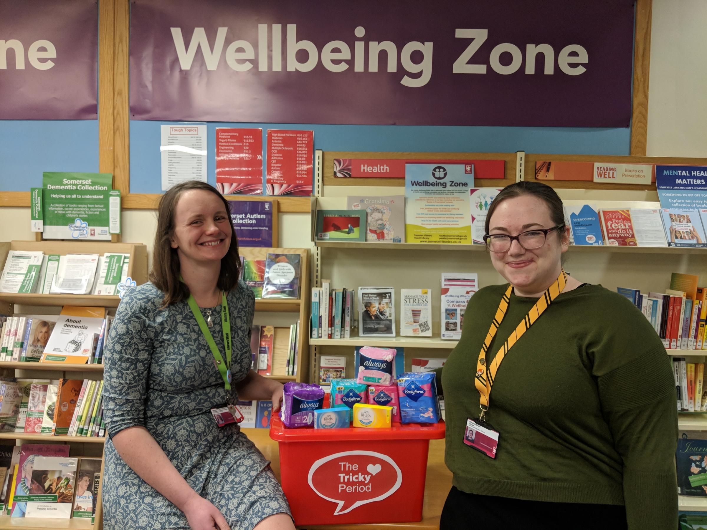 PERIOD POVERTY CAMPAIGN: Somerset Libraries' Alex Cunningham-Scott and Christina Evans