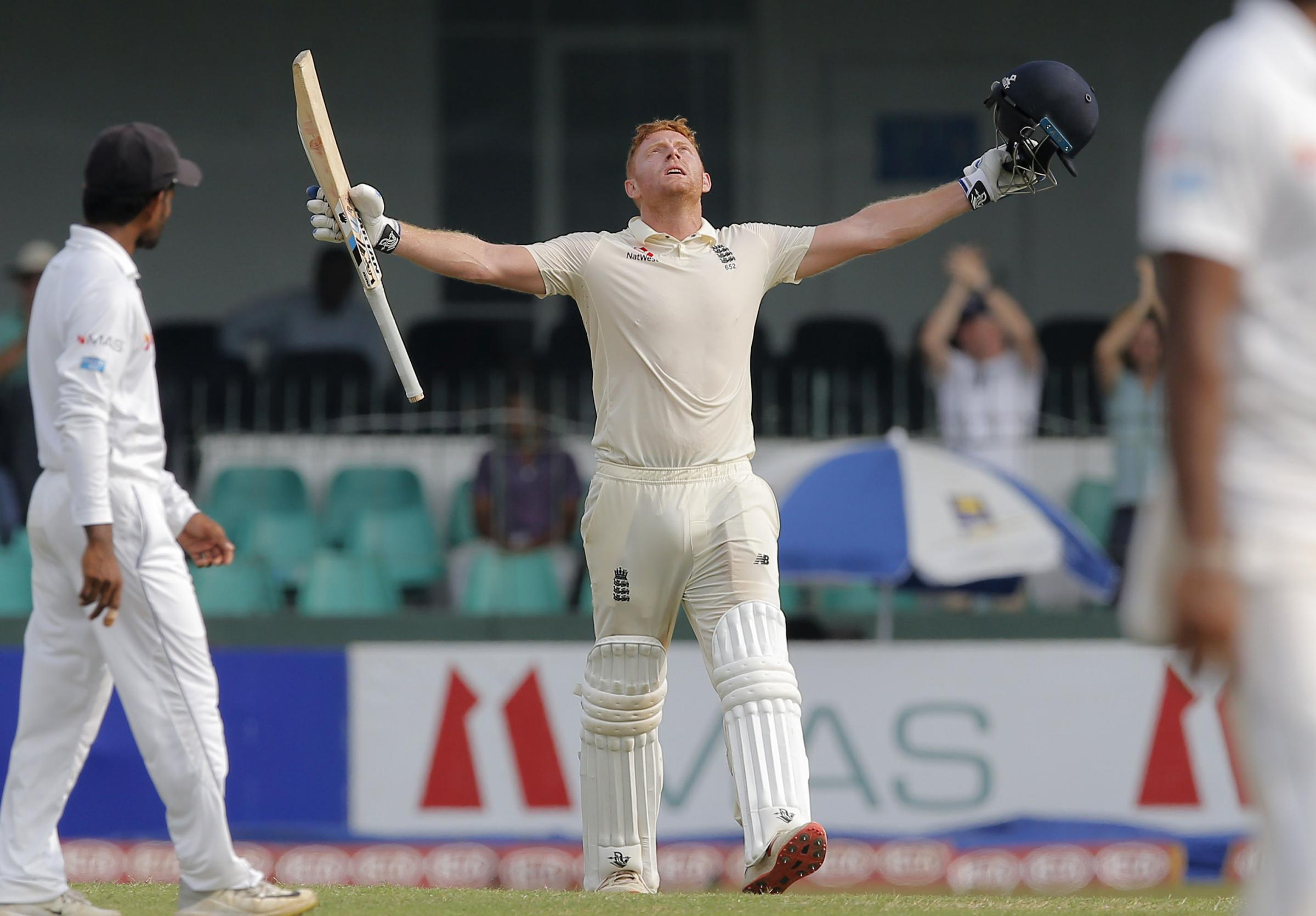 TON UP: England's Jonny Bairstow celebrates scoring his century during the first day of the third Test in Colombo. Pic: AP Photo/Eranga Jayawardena.