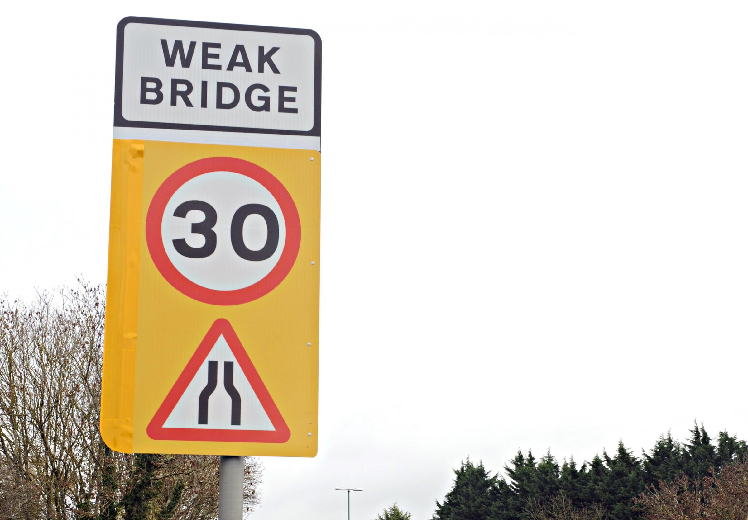 The new signs at the Berkeley Road bridge on the A38