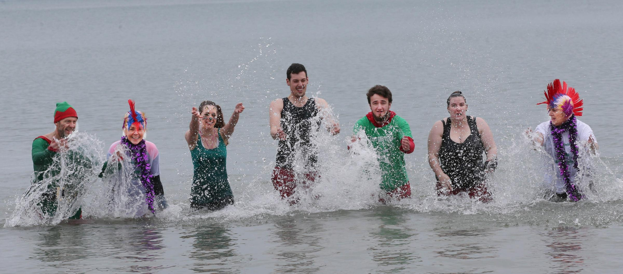 TAKING A DIP: Staff and volunteers at Secret World Wildlife Rescue take a dip in the sea in Lyme Regis
