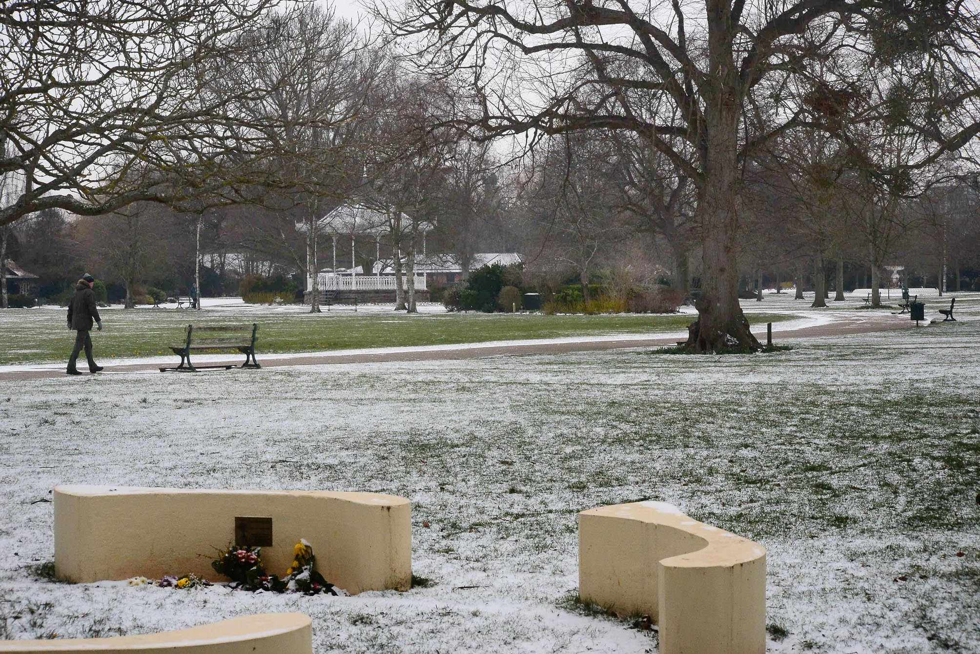 SPRINKLING: Taunton's Vivary Park during the snow in March 2018