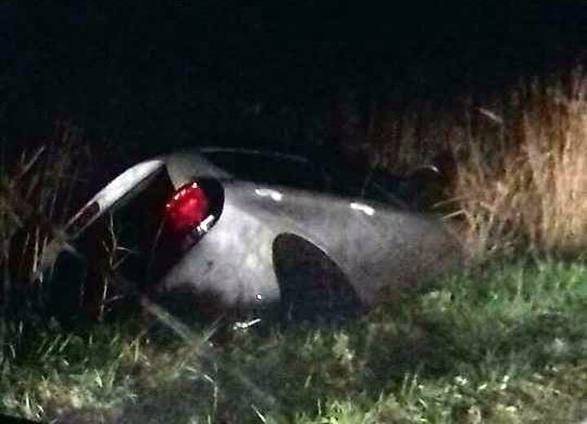 SCENE: The car ended up in a ditch near East Huntspill. PICTURE: Phoebe Orchard