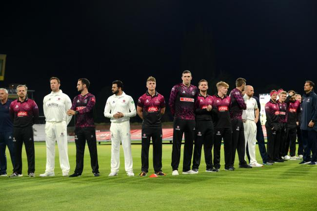 ALL SET: Somerset's players at the lights switch-on