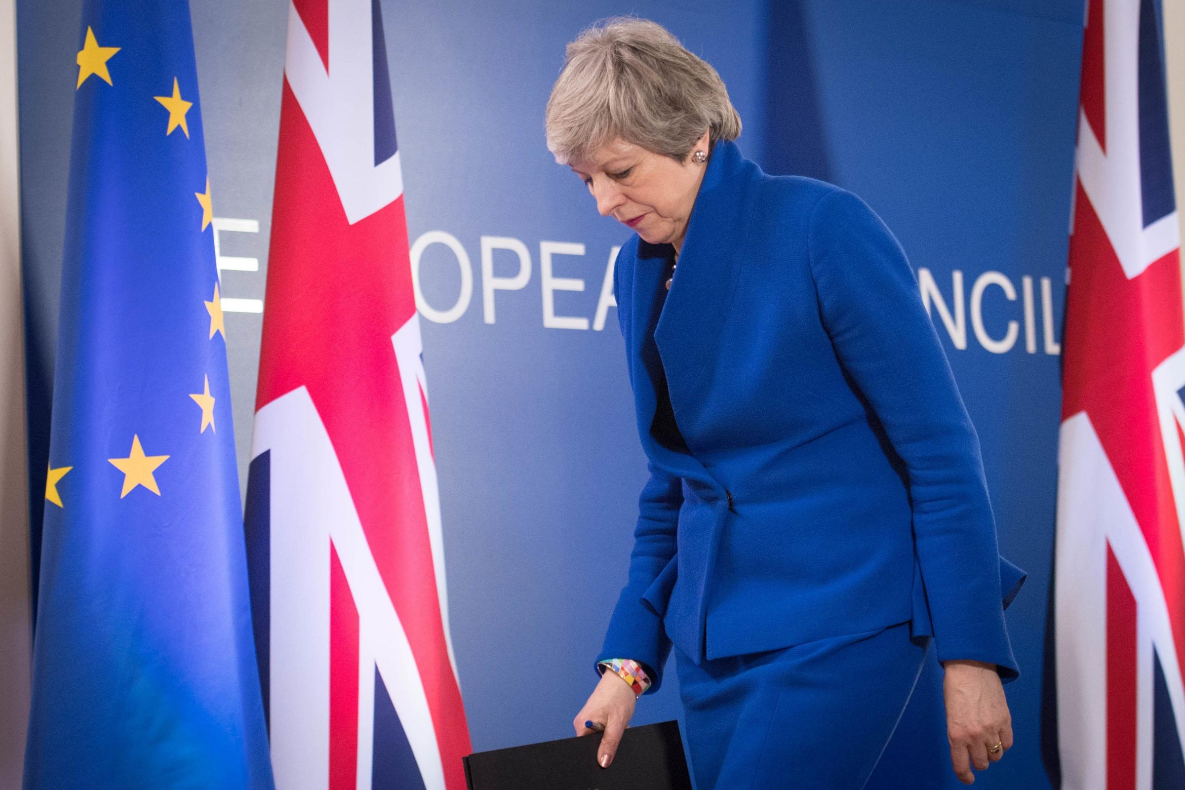 DELAY: Prime Minister Theresa May holds a news conference after the European Council in Brussels