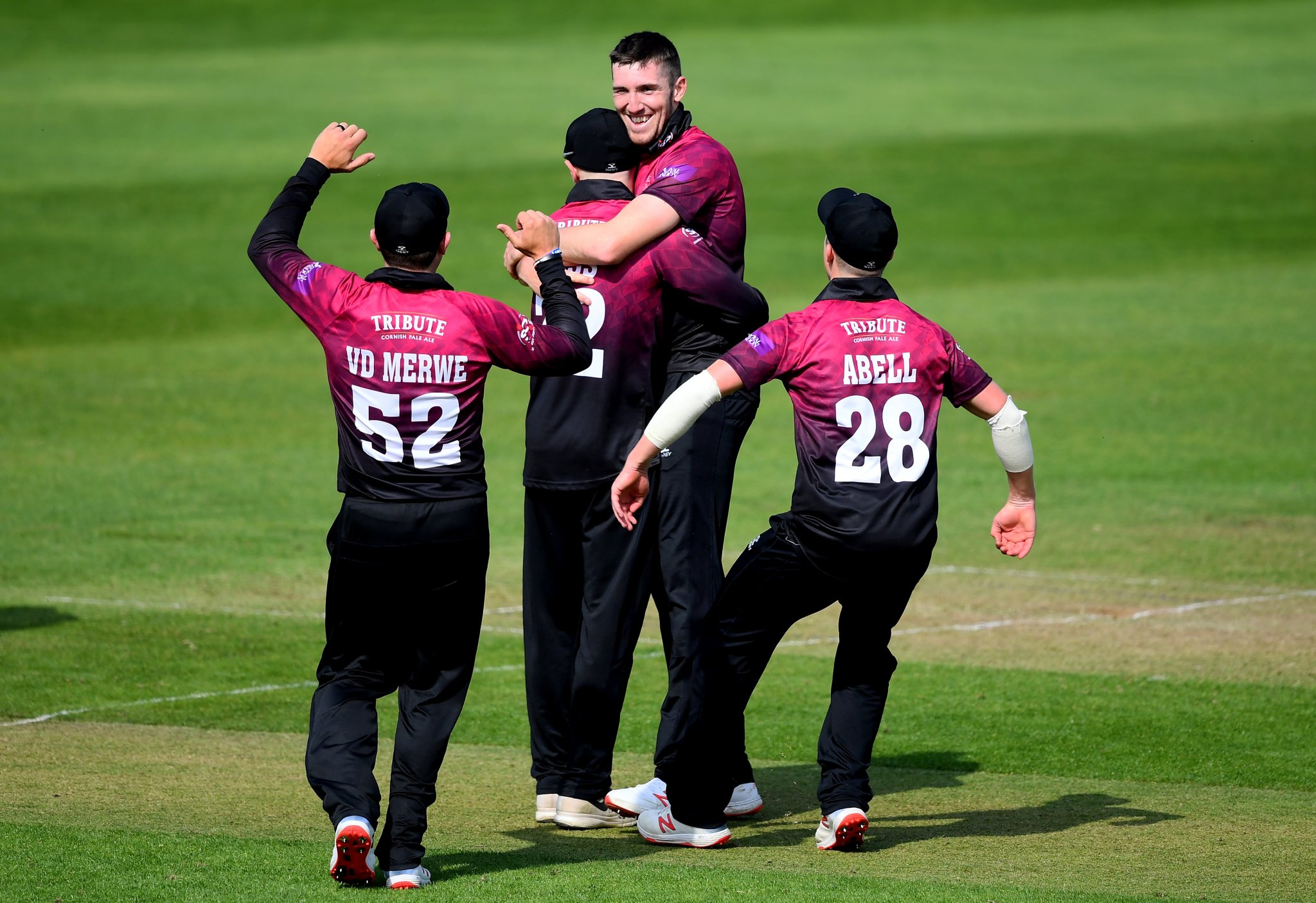 VICTORY: Craig Overton (centre) impressed with bat and ball as Somerset won their second straight Royal London One-Day Cup match. Pic: Alex Davidson/SCCC