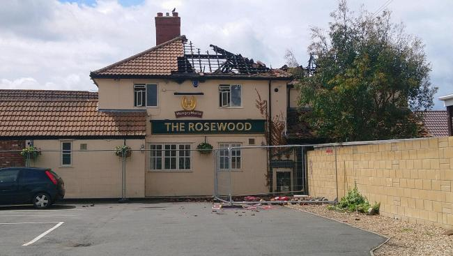 DAMAGED: The roof of The Rosewood Pub, pictured, was destroyed in the fire